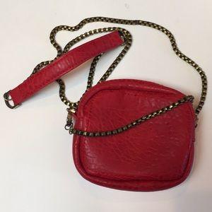 Free People Mini Crossbody Red Vegan Leather Purse